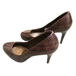 Christian Siriano brown crocodile heels 'Kathryn'